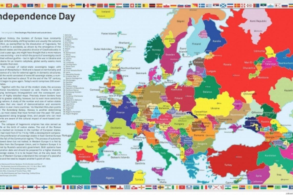 Cine vrea SFÂRŞITUL ROMÂNIEI? | Transilvania și Ținutul Secuiesc apar ca ŢĂRI INDEPENDENTE pe o hartă care prezintă destrămarea Europei în funcție de tendințele separatiste